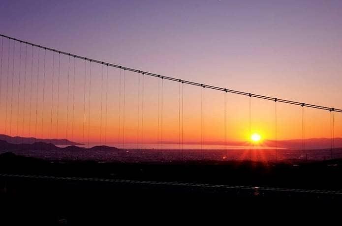 三島スカイウォークと夕日
