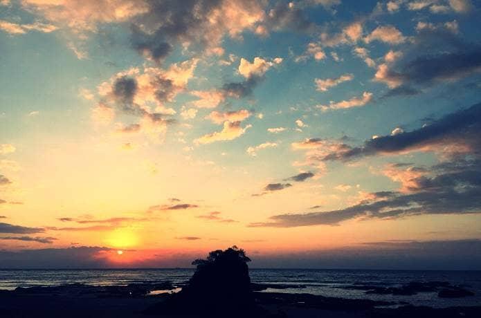 今井浜海岸での朝日