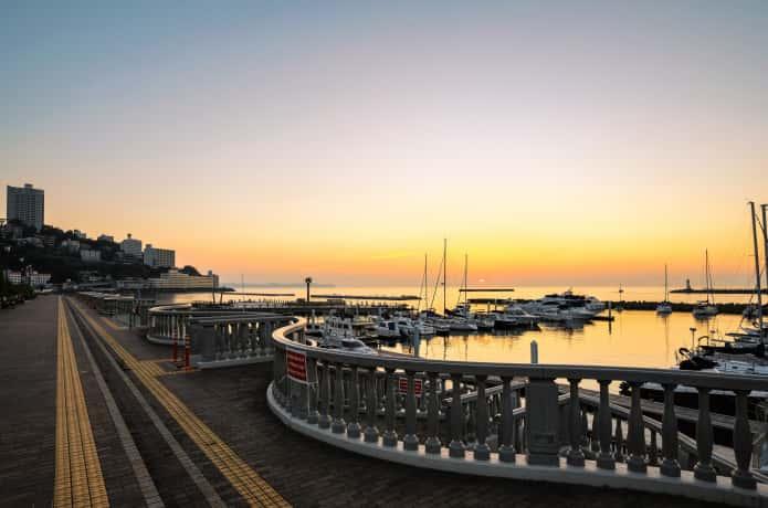 熱海 親水公園 夕日